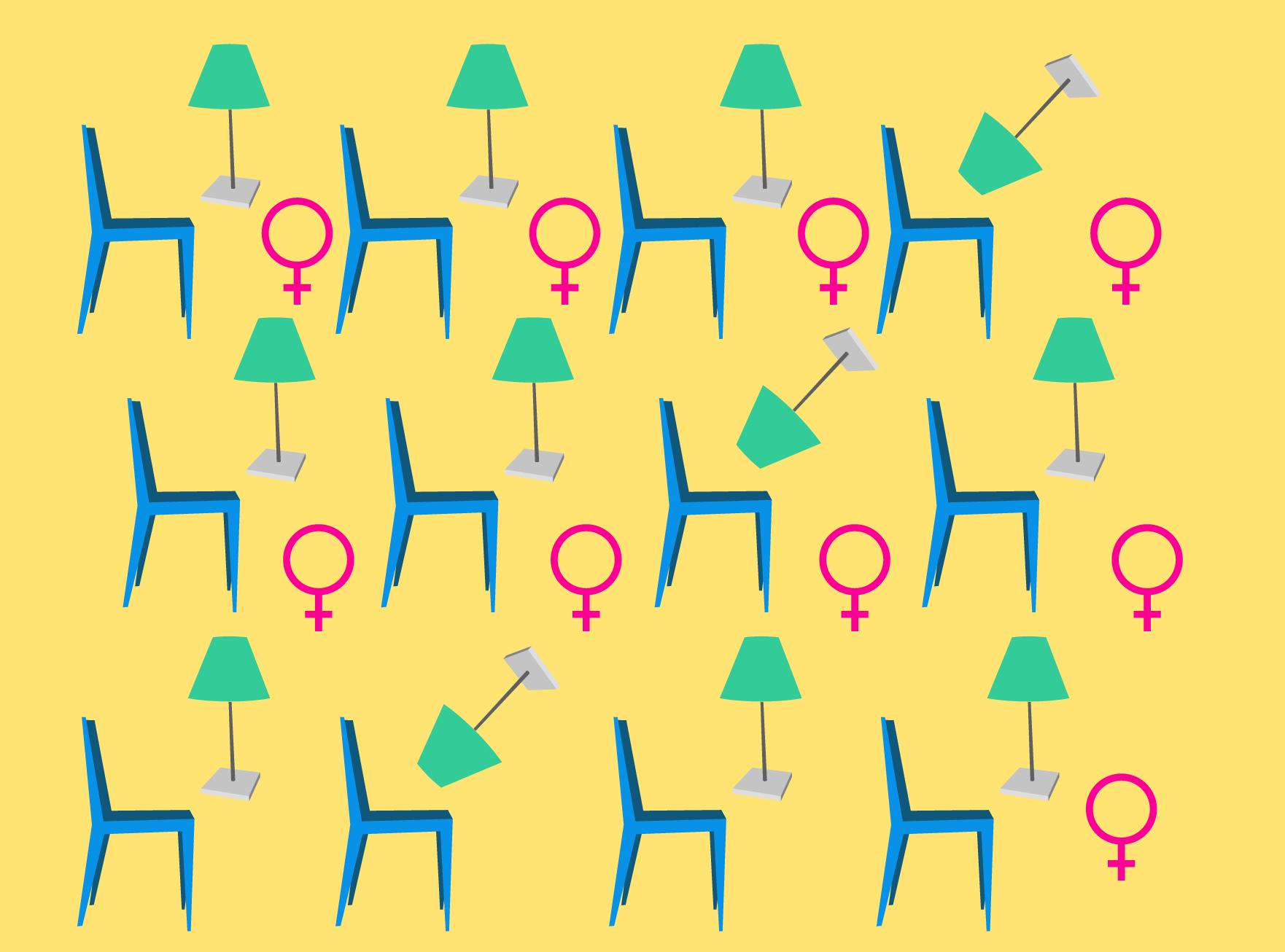 Imagem que mostra um padrão com desenhos de uma cadeira, um abajur e um símbolo do feminino.