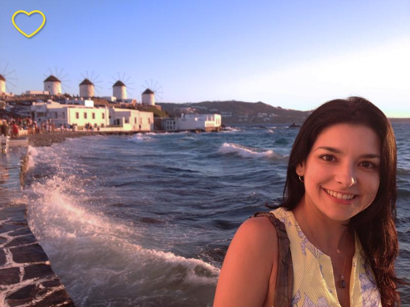 Eu na pequena Veneza, em Mykonos.