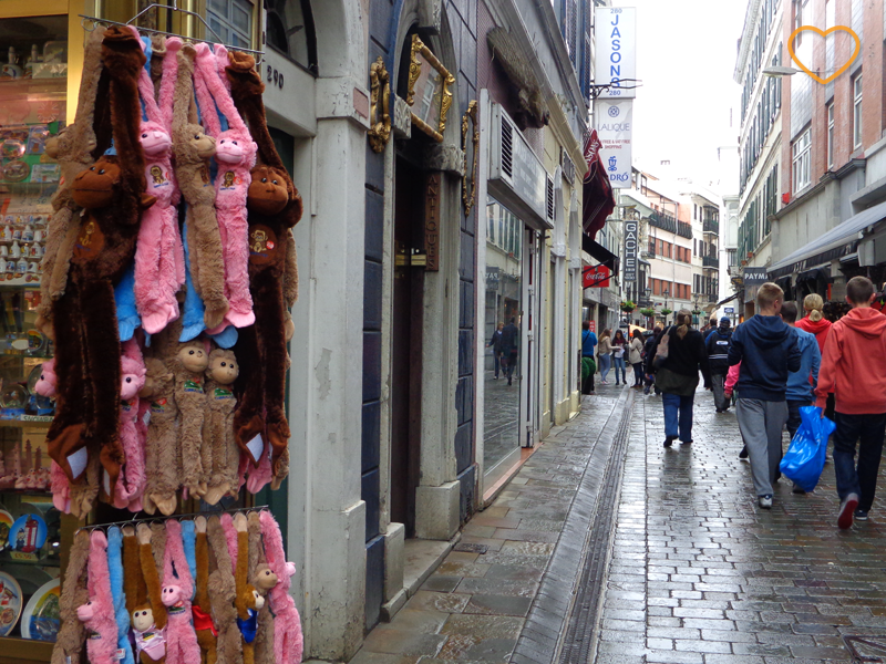 Foto da rua principal do centro, com uma loja que vende macacos de pelúcia.