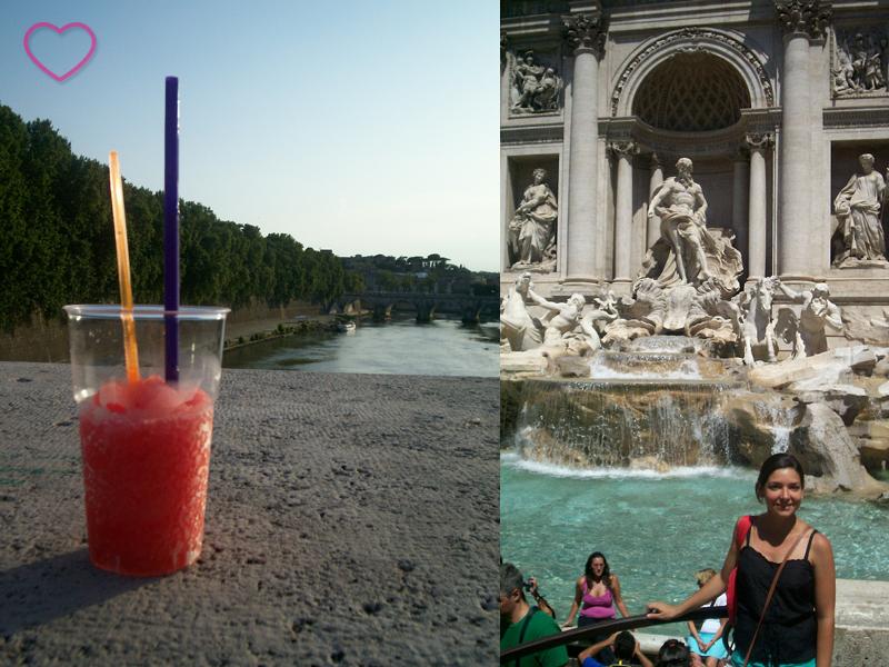 Duas fotos, lado a lado. A primeira é de um copo de granizado de melancia (bebida de melancia meio congelada, meio não; tipo uma raspadinha). A segunda foto sou eu em frente a Fontana di Trevi.