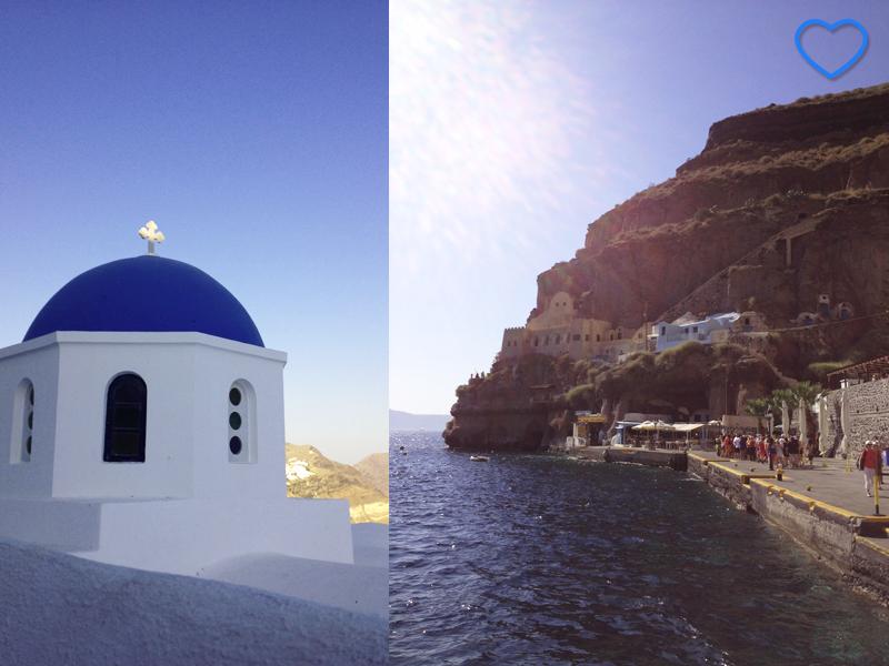 """Duas fotografias juntas. A primeira é de uma típica igrejinha de cúpula azul. A segunda é a """"entrada"""" da ilha, onde estão os teleféricos."""
