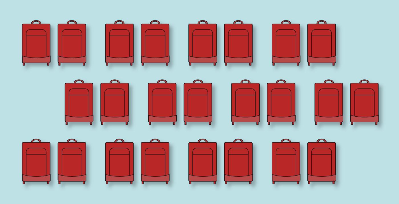 Imagem feita a partir de desenhos que representam malas de viagem.