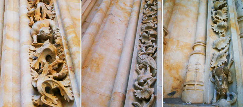 Uma combinação de três fotos. Em cada um está enquadrado um detalhe da fachada da Catedral Nueva. Vêem-se, entre outras figuras de pedra, um touro, uma lebre, uma cegonha, uma lagosta.