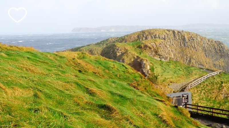 As colinas verdinhas e a porta de metal com a placa lá embaixo.