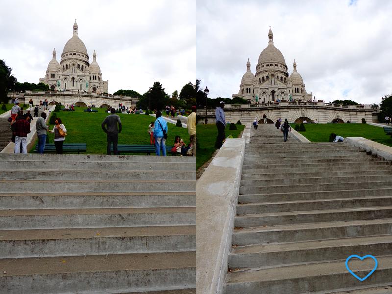 Duas fotos da escadaria da Sacre Coeur e a basílica ao fundo, no alto.