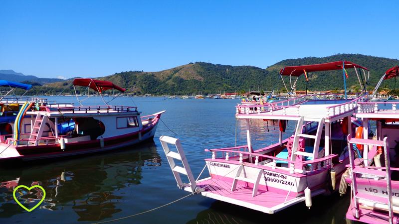 Barcos tipo escuna à disposição para passeios.