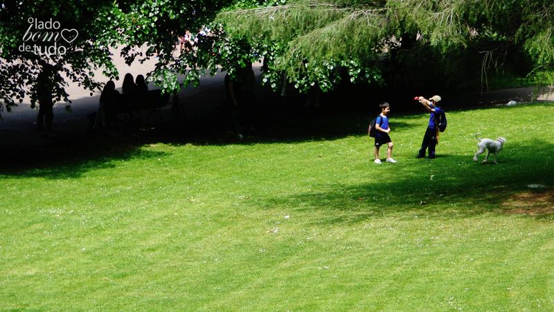 Em um parque, duas crianças brincam com um cachorro.