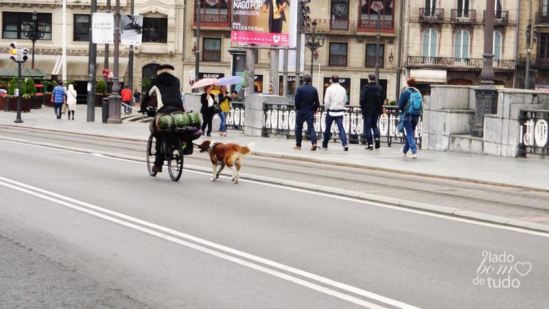 Na rua, um senhor pedala numa bicicleta e leva o cachorro pela coleira.