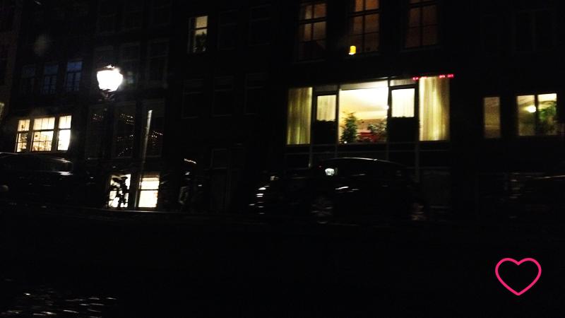 Fotografia tirada do canal. Vê-se uma casa com as luzes acesas e uma árvore de Natal dentro.