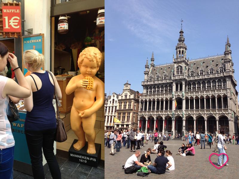 Duas imagens. Uma mostra um boneco que imita o Manneken Pis comendo um waffle. A outra mostra um grupo de jovens sentados no chão da Grand Place.