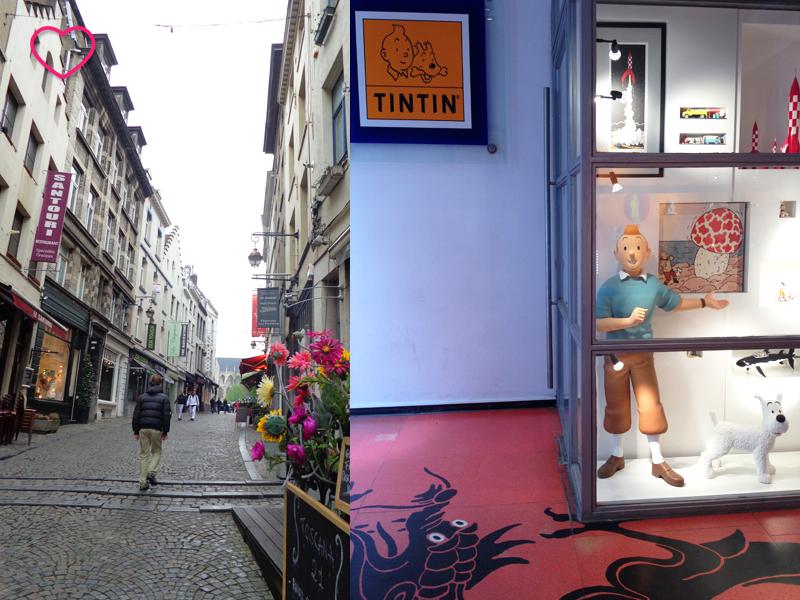 Duas imagens: a primeira mostra uma rua de Bruxelas, que tem o cinza como sua cor predominantemente e alguns detalhes em cor, como um vaso de flores cor-de-rosa. A outra imagem mostra uma vitrine da loja do Tintin, com um boneco grande da personagem.