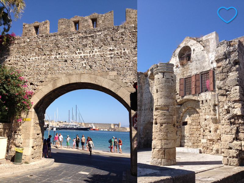 Um conjunto de duas fotos. A primeira mostra a porta da muralha e a segunda mostra algumas estruturas em ruínas, da parte de dentro.