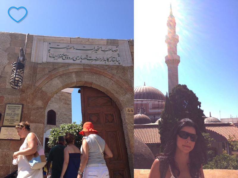 Duas fotos combinadas. A primeira mostra a entrada de um mesquita e a segunda sou e, ao fundo, uma mesquita e seu minarete.